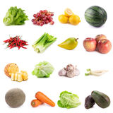 Frutas e legumes frescas no fundo branco Imagem de Stock