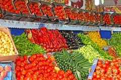 Frutas e legumes frescas no mercado Foto de Stock Royalty Free