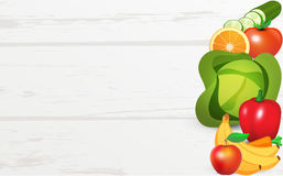Frutas e legumes na tabela Fotografia de Stock Royalty Free