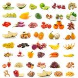Frutas e legumes no fundo branco Imagens de Stock Royalty Free