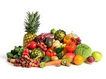 Frutas e legumes sobre o fundo branco Imagens de Stock