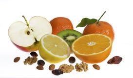 Frutas e porcas fotografia de stock