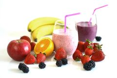 Frutas e smoothies Imagem de Stock Royalty Free