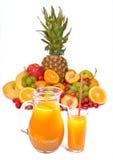Frutas e suco foto de stock