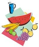 Frutas e suco Imagem de Stock