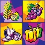 Frutas e verdura ajustadas Fotografia de Stock Royalty Free