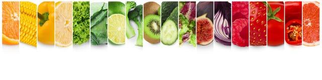 Frutas e verdura coloridas Colagem dos alimentos frescos imagem de stock royalty free