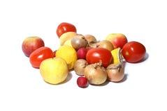 Frutas e verdura isoladas no branco imagens de stock