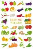 Frutas e verdura nutrition Grupo do ícone ilustração stock