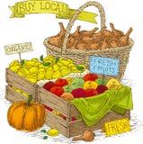 Frutas e verdura para a venda Fotografia de Stock Royalty Free