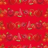 Frutas e verdura vermelhas Fundo sem emenda Imagens de Stock