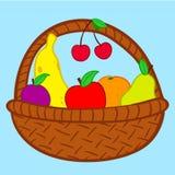 Frutas en doodle de la cesta Fotografía de archivo libre de regalías