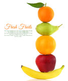 Frutas en fila Foto de archivo libre de regalías