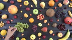 Frutas en fondo ecológico negro Visión superior metrajes