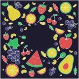 Frutas en fondo negro Copie el espacio bandera libre illustration