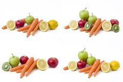 Frutas en un fondo blanco Limón con las manzanas y kiwi en el fondo blanco Kiwi con el limón en un fondo blanco Fotografía de archivo
