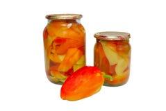 Frutas engarrafadas em uns frascos. imagens de stock royalty free