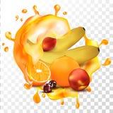 Frutas estacionales en Juice Splash anaranjado