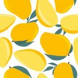 Frutas exóticas maduras, fondo decorativo Modelo inconsútil colorido con el mango, hojas libre illustration