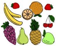 Frutas fijadas en el fondo blanco Foto de archivo libre de regalías