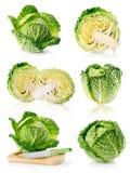 Frutas frescas ajustadas do repolho verde isoladas no branco fotos de stock