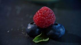 Frutas frescas - arándano, frambuesa alineado maravillosamente con las frambuesas y los arándanos Foto de archivo