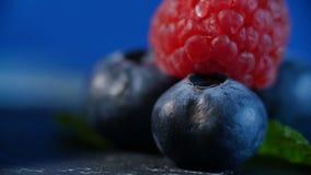 Frutas frescas - arándano, frambuesa alineado maravillosamente con las frambuesas y los arándanos Foto de archivo libre de regalías