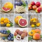 Frutas frescas - collage imagenes de archivo