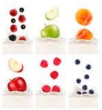 Frutas frescas coloridas que caen en el chapoteo lechoso Illu del vector Foto de archivo