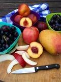 Frutas frescas con las manzanas, las nectarinas y las uvas Fotografía de archivo