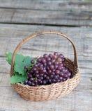 Frutas frescas da uva na cesta Fotos de Stock Royalty Free