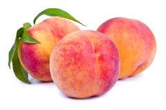 Frutas frescas del melocotón con la hoja fotos de archivo