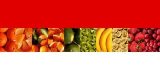 Frutas frescas en fila de las formas del rectángulo Fotos de archivo libres de regalías