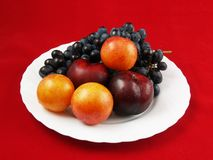 Frutas frescas en la placa blanca imagen de archivo libre de regalías