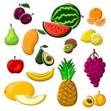 Frutas frescas jugosas fijadas en estilo de la historieta Fotos de archivo libres de regalías