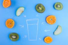 Frutas frescas no azul imagem de stock royalty free