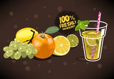 Frutas frescas para Juice With An Orange exprimido, limón, cal, Gra Foto de archivo