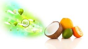 Frutas jugosas coloridas con las muestras y los iconos verdes del eco Imágenes de archivo libres de regalías