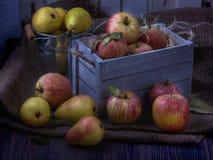Frutas jugosas en caja de madera del viejo vintage blanco Manzanas rojas y peras amarillas Luz de luna oscura 05 imagenes de archivo