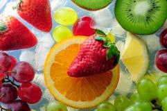 Frutas jugosas en el hielo Foto de archivo libre de regalías