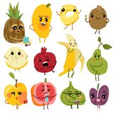 Frutas lindas Caracteres divertidos de la fruta, manzana de la pera del plátano del kiwi de la piña Historieta natural fresca del ilustración del vector