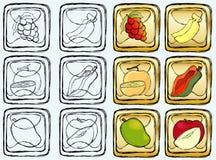 Frutas na tecla dourada Foto de Stock
