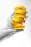 Frutas nas mãos Fotografia de Stock