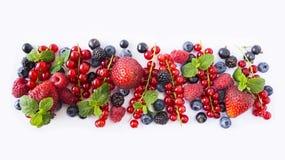 frutas Negro-azules y rojas Pasas rojas, fresas, frambuesas, zarzamoras, arándanos y grosellas negras maduros en la parte posteri Imagen de archivo