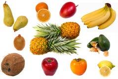 Frutas no fundo branco Fotografia de Stock