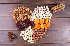 Frutas Nuts y secas Foto de archivo libre de regalías