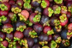 Frutas orgánicas frescas del mangostán en el mercado Fotografía de archivo