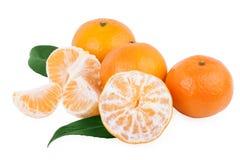 Frutas peladas de la mandarina o del mandarín aisladas en blanco Fotografía de archivo libre de regalías