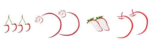 Frutas rojas dibujadas mano en el fondo blanco Foto de archivo libre de regalías