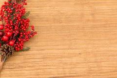 Frutas rojas en la Navidad de la rama para la decoración Foto de archivo libre de regalías